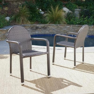 Otto Multibrown Armed Stackable Wicker Outdoor Dining Chair (2-Pack)