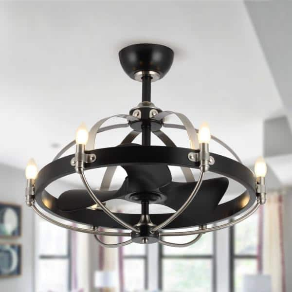 Matrix Decor 28 In Black Chandelier Ceiling Fan With Light And Remote Md519006cb110v The Home Depot