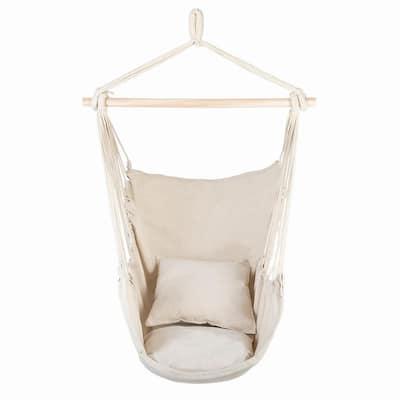 51 in. Portable Hammock Rope Chair Outdoor Hanging Air Swing in Beige