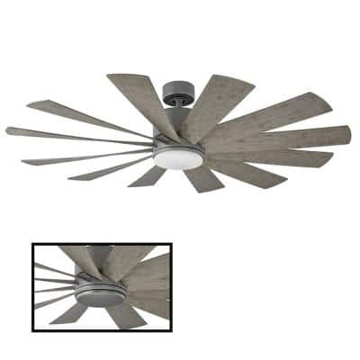 Windflower 60 in. LED Indoor/Outdoor Graphite 12-Blade Smart Ceiling Fan with 3000K Light Kit and Wall Control
