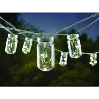 10-Light Plastic Mason Jar Patio String Lights