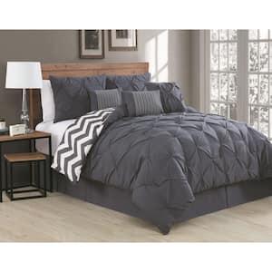 Ella 7-Piece Charcoal King Comforter Set