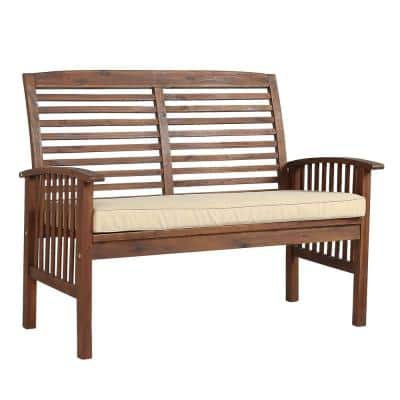 Boardwalk 48 in. Dark Brown Acacia Wood Outdoor Loveseat Bench with Cream Cushions