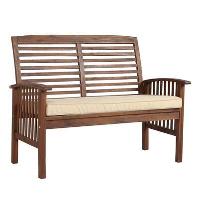 Boardwalk 48 in. Dark Brown Acacia Wood Outdoor Loveseat Bench with Cream Cushions