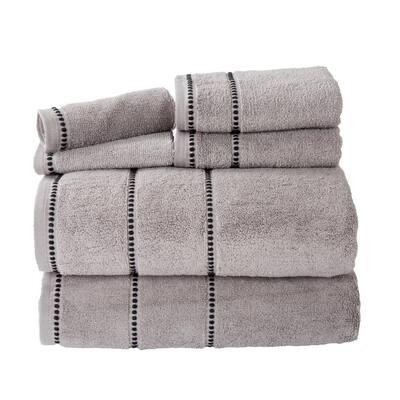 6-Piece Silver/Black Luxury Quick Dry 100% Cotton Bath Towel Set