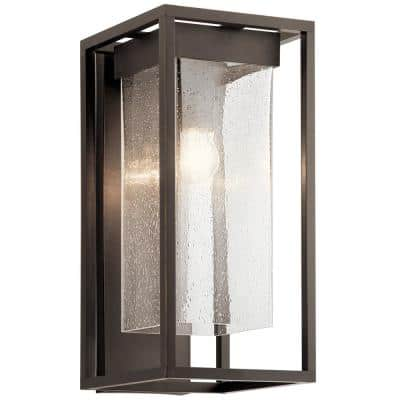 Mercer 18.75 in. 1-Light Olde Bronze Outdoor Wall Sconce with Clear Seeded Glass