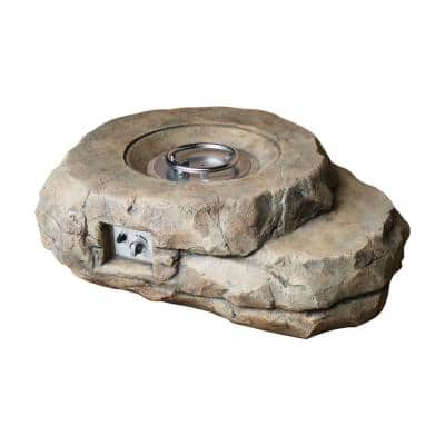 Kivi 70 in. x 16 in. Rock Textured Gas Fire Pit with Round Burner Kit