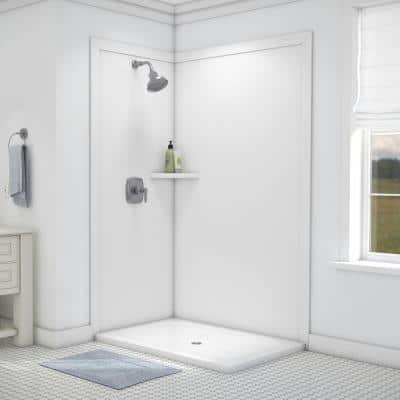 Elegance 36 in. x 48 in. x 80 in. 7-Piece Easy Up Adhesive Corner Shower Wall Surround in White