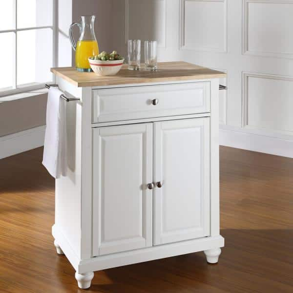 Crosley Furniture Cambridge White Portable Kitchen Island With Wood Top Kf30021dwh The Home Depot