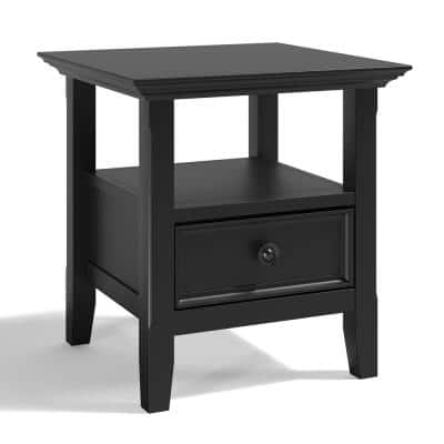 Washington Solid Wood 19 inch Wide Square Transitional End Table in Black