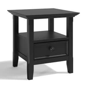 Amherst Solid Wood 19 in. Wide Square Transitional End Table in Black