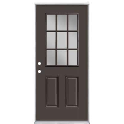 36 in. x 80 in. 9 Lite Willow Wood Right-Hand Inswing Painted Smooth Fiberglass Prehung Front Exterior Door, Vinyl Frame