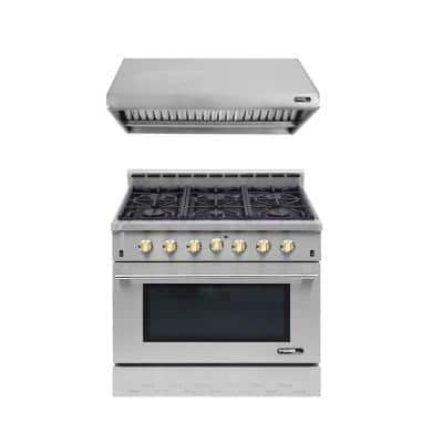 Entree Bundle 36 in. 5.5 cu. ft. Pro-Style Gas Range with Convection Oven and Range Hood in Stainless Steel and Gold