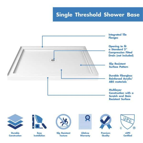Dreamline Infinity Z 36 In X 48 In Semi Frameless Sliding Shower Door In Brushed Nickel With Center Drain Base And Backwalls Dl 6107c 04cl The Home Depot