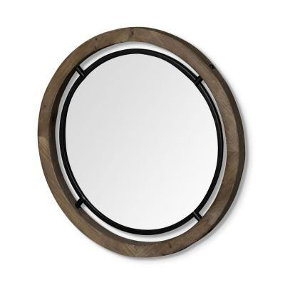 Mariana 28 in. x 1.25 in. Classic Round Framed Brown Vanity Mirror