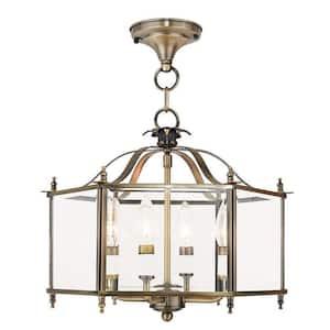 Livingston 4 Light Antique Brass Convertible Pendant/Ceiling Mount