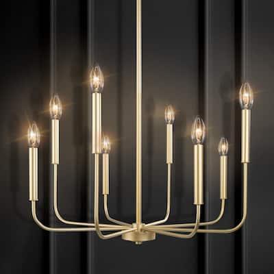 Lill 8-Light Modern Classic Chandelier Brass Gold Transitional Farmhouse Island Candlestick Chandelier Pendant Light