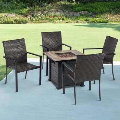 5-Piece Metal Patio Conversation Seating Set with Fire Pit
