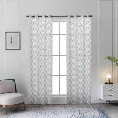 Amelia 54 in.L x 52 in. W Sheer Polyester Curtain in Silver