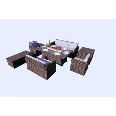 Sunny Brown 7-Piece Wicker Patio Conversation Set with Gray Cushions and Firepits Table