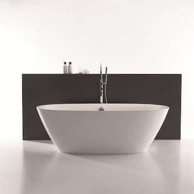 71 in. Acrylic Stand Alone Flatbottom Freestanding Bathtub Soaking SPA Tub Modern Style in White