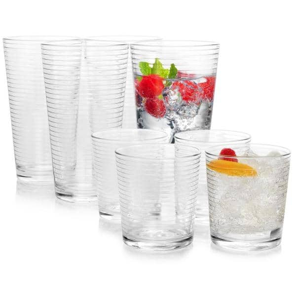 Pasabahce - Rondo 16.75 oz. and 13 oz. Clear Glass Tumbler and Cooler Glass Set (Set of 16)