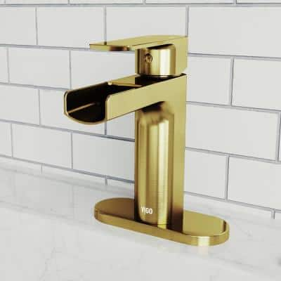 Ileana Single-Handle Single Hole Bathroom Faucet with Deck Plate in Matte Gold