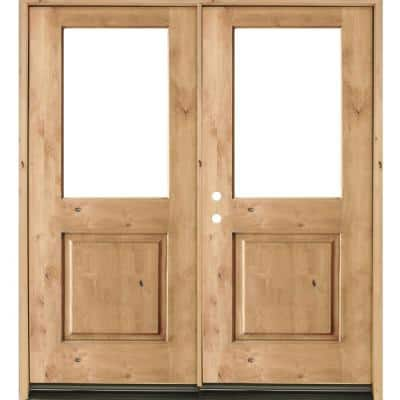 72 in. x 80 in. Rustic Knotty Alder Half-Lite Clear Glass Unfinished Wood Right Active Inswing Double Prehung Front Door