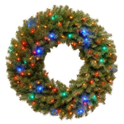 36 in. Norwood Fir Artificial Wreath with Multicolor LED Lights