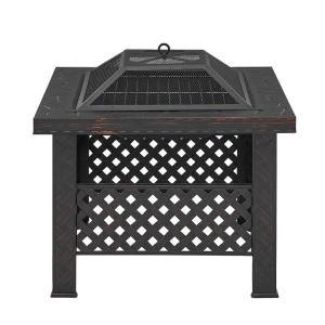 26 in. x 19.25 in. Outdoor Square Table Wood Fire Pit with Spark Screen Cover and Poker