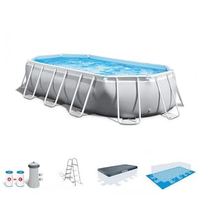 16.5 x 4 ft. Prism Frame Rectangular Above Ground Swimming Pool Pump Set