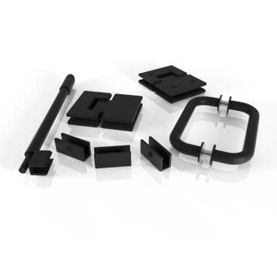 78 in. Glass Hinged Hardware Pack in Matte Black with Handle