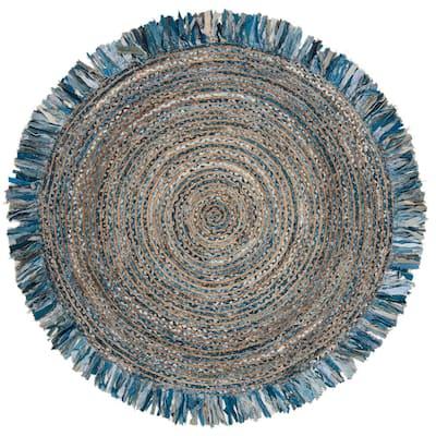 Cape Cod Ivory/Denim 5 ft. x 5 ft. Round Gradient Striped Area Rug