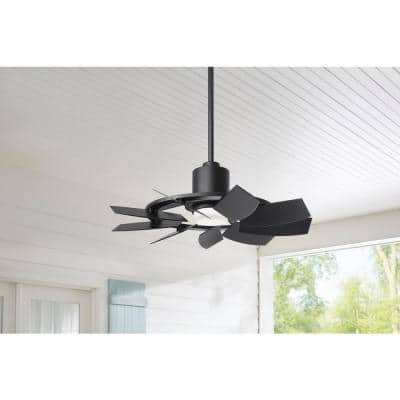 Stonemill36 in. LED Outdoor Matte Black Ceiling Fan with Light