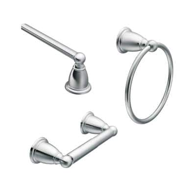 Brantford 3-Piece Bath Hardware Set with 24 in. Towel Bar, Paper Holder, and Towel Ring in Chrome