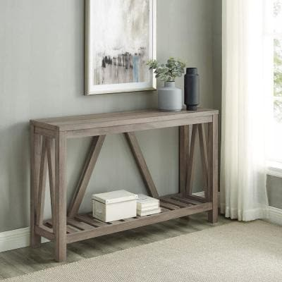 52 in. Gray Wash Standard Rectangle Composite Console Table with Storage