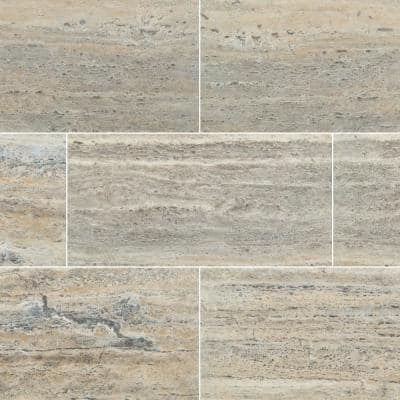 Travertine 12 in. x 24 in. Silver Honed Filled Travertine Floor and Wall Tile (8 sq. ft./Case)