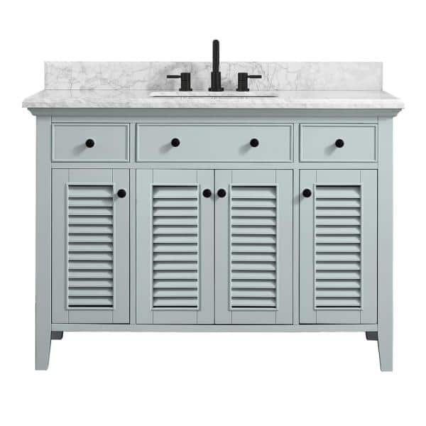 Home Decorators Collection Fallworth 49 In W X 22 In D Bath Vanity In Light Green With Marble Vanity Top In Carrara White With White Basin 19115 Vs49 Lg The Home Depot