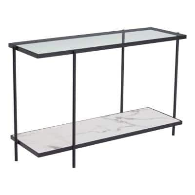 Winslett 47 in. Clear/Black/Stone Rectangle Glass Console Table with Storage