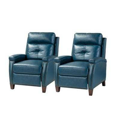 Florina Turquoise Upholstery Genuine Leather Recliner with Nailhead Trim (Set of 2)