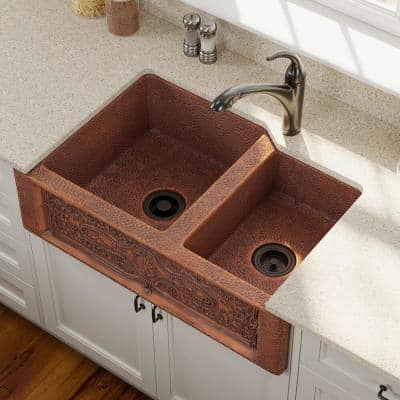 Farmhouse Apron Front Copper 33 in. Double Bowl Kitchen Sink with Strainer and Flange