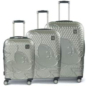 Disney Textured Mickey Mouse 3-Piece 29 in., 25 in. and 21 in. Silver Hard-Sided Suitcases Luggage Set