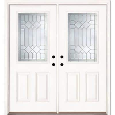66 in. x 81.625 in. Mission Pointe Zinc 1/2 Lite Unfinished Smooth Right-Hand Fiberglass Double Prehung Front Door