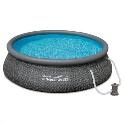 Dark Grey Wicker 12 ft. Round 36 in. D Quick Set Inflatable Ring Pool