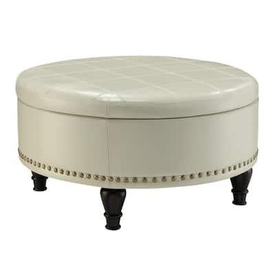 Augusta Cream Storage Ottoman