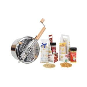7-Piece Stainless Steel Silver Stovetop Popcorn Popper Set with Farm Fresh Popcorn and Toppings