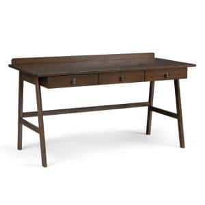 60 in. Rectangular Natural Aged Brown 3 Drawer Writing Desk with Solid Wood Material