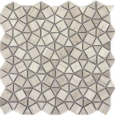 Marble Cream Honed 11.81 in. x 11.81 in. x 10 mm Limestone Mesh-Mounted Mosaic Tile (0.97 sq. ft.)