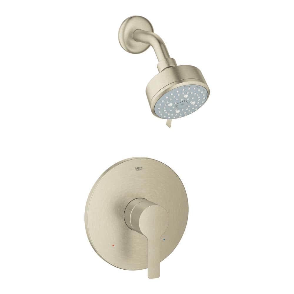 Grohe Lineare 1 Handle Wall Mount Shower And Valve Trim Kit In Brushed Nickel With Watersense Valve Not Included 23826en1 The Home Depot