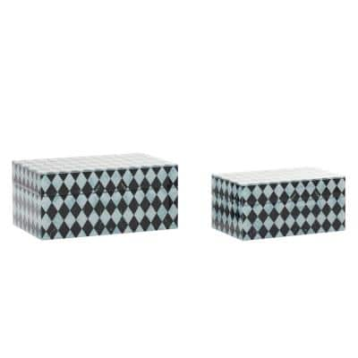 """11"""" and 9"""" Black Wood Contemporary Box, Set of 2"""